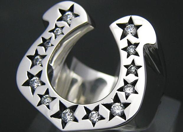 CZストーンホースシューリング シルバー925,ジルコニア (メンズ レディース 男性用 女性用 指輪 シルバーリング エルヴィス・プレスリー 馬蹄 蹄鉄 銀 幸運の指輪)